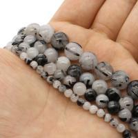Schwarzer Rutilquarz Perle, rund, verschiedene Größen vorhanden, weiß und schwarz, Grad AAA, Bohrung:ca. 1mm, verkauft per ca. 14.9 ZollInch Strang