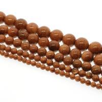 Goldstein Perlen, Goldsand, rund, verschiedene Größen vorhanden, Bohrung:ca. 1mm, verkauft per ca. 14.9 ZollInch Strang