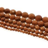 Goldstein Perlen, Goldsand, rund, verschiedene Größen vorhanden & facettierte, Bohrung:ca. 1mm, verkauft per ca. 14.9 ZollInch Strang