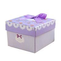 Schmuck Geschenkkarton, Papier, Quadrat, Kunstdruck, gemischte Farben, 85x90x55mm, 6PCs/Tasche, verkauft von Tasche