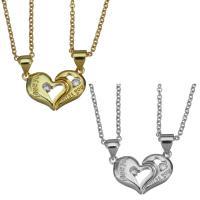 Edelstahl Ehepaar Halskette, mit Verlängerungskettchen von 1.5Inch, Herz, plattiert, Oval-Kette, keine, 9x13mm,9x15mm,1.5mm, Länge:ca. 17 ZollInch, 2SträngeStrang/setzen, verkauft von setzen