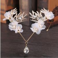 Zinklegierung Braut Stirnschmuck, mit ABS-Kunststoff-Perlen & Stoff, plattiert, Koreanischen Stil & für Frau & mit Strass, keine, frei von Nickel, Blei & Kadmium, 420mm, verkauft von PC