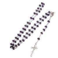 Kristall Halskette, mit Zinklegierung, plattiert, unisex, 6x8mm, verkauft von Strang