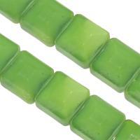 Mode Glasperlen, Glas, Quadrat, DIY & facettierte, grün, 13x13x8mm, Bohrung:ca. 1mm, 50PCs/Strang, verkauft von Strang