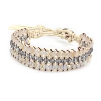 Kristall Armbänder, mit Baumwolle Schnur, plattiert, Bohemian-Stil & einstellbar & für Frau, mehrere Farben vorhanden, 6x1.5cm, verkauft von PC