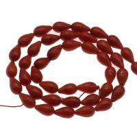 Natürliche Korallen Perlen, Koralle, Tropfen, DIY, rot, 8*5mm, Bohrung:ca. 1mm, ca. 45PCs/Strang, verkauft per ca. 14.9 ZollInch Strang