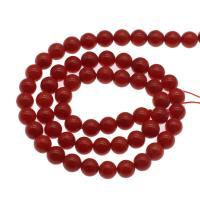 Natürliche Korallen Perlen, Koralle, rund, DIY & verschiedene Größen vorhanden, rot, Bohrung:ca. 1mm, verkauft per ca. 14.9 ZollInch Strang