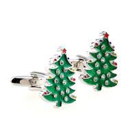 Manschettenknöpfe, Messing, Weihnachtsbaum, Einbrennlack, unisex & mit Strass, grün, frei von Nickel, Blei & Kadmium, 14mm, verkauft von Paar