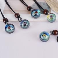 Lampwork Halskette, mit PU Schnur, unisex & verschiedene Stile für Wahl, verkauft per ca. 15 ZollInch Strang
