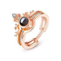 925er Sterling Silber Open -Finger-Ring, plattiert, abnehmbare & verschiedene Stile für Wahl & Micro pave Zirkonia & für Frau, 6mm, 2PCs/Menge, verkauft von Menge