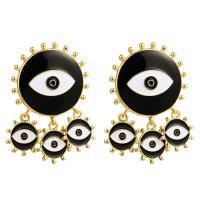 Zinklegierung Tropfen Ohrring, mit Emaille, plattiert, böser Blick- Muster & für Frau, keine, frei von Nickel, Blei & Kadmium, 52x35mm, verkauft von Paar