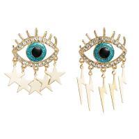 Zinklegierung asymmetrische Ohrringe, blöser Blick, plattiert, verschiedene Stile für Wahl & für Frau & mit Strass, frei von Nickel, Blei & Kadmium, 43x35mm, verkauft von Paar
