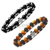 Natürliche Tiger Eye Armband, Tigerauge, mit Lava & Hämatit & Schwarzer Achat & Zinklegierung, rund, poliert, verschiedenen Materialien für die Wahl & unisex, 8mm, verkauft per ca. 7.3 ZollInch Strang