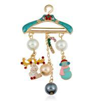 Zinklegierung Brosche, mit ABS-Kunststoff-Perlen, goldfarben plattiert, unisex & Emaille & mit Strass, farbenfroh, frei von Nickel, Blei & Kadmium, 43x75mm, verkauft von PC