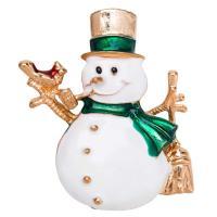 Weihnachten Broschen, Zinklegierung, Schneemann, goldfarben plattiert, unisex & Emaille, frei von Nickel, Blei & Kadmium, 38x47mm, verkauft von PC