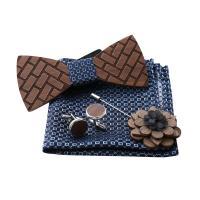 Holz Manschettenknopf & Brosche, mit Stoff, verschiedene Stile für Wahl, 120x50x4.50mm, verkauft von setzen