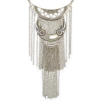 Zinklegierung Franse Halskette, mit Verlängerungskettchen von 8cm, silberfarben plattiert, für Frau, frei von Nickel, Blei & Kadmium, 110x230mm, verkauft per ca. 16.15 ZollInch Strang