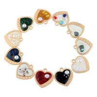 Messing Herz Anhänger, mit ABS-Kunststoff-Perlen & Edelstein, flacher Herz, goldfarben plattiert, verschiedene Stile für Wahl & Emaille, frei von Nickel, Blei & Kadmium, 35x34x5mm, Bohrung:ca. 4mm, 50PCs/Tasche, verkauft von Tasche