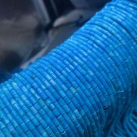 Türkis Perlen, Zylinder, poliert, DIY, blau, 3x4mm, ca. 95PCs/Strang, verkauft per ca. 15 ZollInch Strang