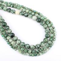 Granat Perle, rund, verschiedene Größen vorhanden, grün, Bohrung:ca. 1mm, verkauft per ca. 14.9 ZollInch Strang