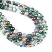 Natürliche Indian Achat Perlen, Indischer Achat, rund, verschiedene Größen vorhanden, weiß und schwarz, Bohrung:ca. 1mm, verkauft per ca. 14.9 ZollInch Strang