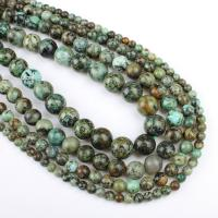 Natürliche afrikanische Türkis Perle, rund, verschiedene Größen vorhanden, grün, Bohrung:ca. 1mm, verkauft per ca. 14.9 ZollInch Strang