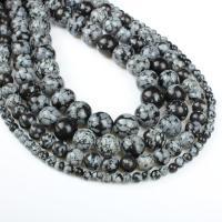 Schneeflocke Obsidian, rund, verschiedene Größen vorhanden, weiß und schwarz, Bohrung:ca. 1mm, verkauft per ca. 14.9 ZollInch Strang