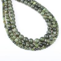 Südliche Jade Perle, rund, verschiedene Größen vorhanden, grün, Bohrung:ca. 1mm, verkauft per ca. 14.9 ZollInch Strang