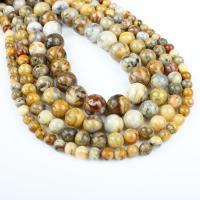 Natürliche verrückte Achat Perlen, Verrückter Achat, rund, verschiedene Größen vorhanden, gelb, Bohrung:ca. 1mm, verkauft per ca. 14.9 ZollInch Strang