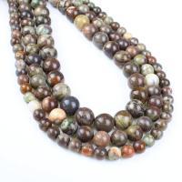 Leopardhaut Stein, rund, verschiedene Größen vorhanden, Bohrung:ca. 1mm, verkauft per ca. 14.9 ZollInch Strang