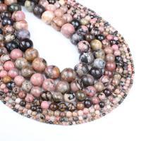 Rhodonit Perle, rund, verschiedene Größen vorhanden, Rosa, Bohrung:ca. 1mm, verkauft per ca. 14.9 ZollInch Strang