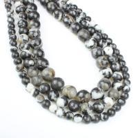 Hetian Jade Perle, rund, verschiedene Größen vorhanden, weiß und schwarz, Bohrung:ca. 1mm, verkauft per ca. 14.9 ZollInch Strang