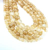 Rutilated Quarz Perle, rund, verschiedene Größen vorhanden, goldfarben, Bohrung:ca. 1mm, verkauft per ca. 14.9 ZollInch Strang