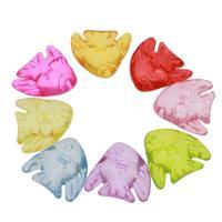 Acryl Anhänger, Fisch, DIY & transparent, gemischte Farben, 29x27x10mm, Bohrung:ca. 1.5mm, ca. 440PCs/Tasche, verkauft von Tasche