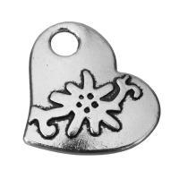 Zinklegierung Herz Anhänger, Schwärzen, Silberfarbe, frei von Nickel, Blei & Kadmium, 22.5x19.5x2.5mm, Bohrung:ca. 4mm, 100PCs/Menge, verkauft von Menge