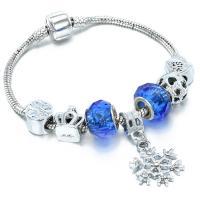 Europa Armband Kette, Zinklegierung, mit Glasperlen, plattiert, verschiedene Größen vorhanden & für Frau, keine, frei von Nickel, Blei & Kadmium, verkauft von Strang