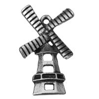Zinklegierung Gebäude Anhänger, Burg, Schwärzen, Silberfarbe, frei von Nickel, Blei & Kadmium, 16x27.5x3.5mm, Bohrung:ca. 2mm, 100PCs/Menge, verkauft von Menge