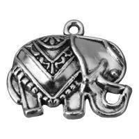 Zinklegierung Tier Anhänger, Elephant, Schwärzen, Silberfarbe, frei von Nickel, Blei & Kadmium, 25x21x4mm, Bohrung:ca. 2mm, 100PCs/Menge, verkauft von Menge