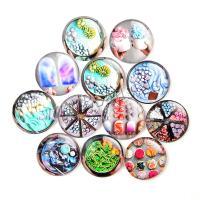 Kühlschrankmagnete, Glas, rund, Epoxidharzklebstoff, verschiedene Muster für Wahl, gemischte Farben, 18mm, 100PCs/Tasche, verkauft von Tasche