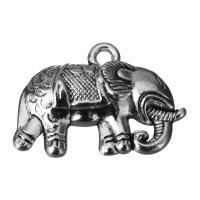 Zinklegierung Tier Anhänger, Elephant, Schwärzen, Silberfarbe, frei von Nickel, Blei & Kadmium, 27x19.5x5mm, Bohrung:ca. 2.5mm, 100PCs/Menge, verkauft von Menge