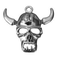 Zinklegierung Schädel Anhänger, Schwärzen, Silberfarbe, frei von Nickel, Blei & Kadmium, 34x32.5x7.5mm, Bohrung:ca. 3mm, 100PCs/Menge, verkauft von Menge