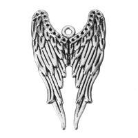 Flügel Zinklegierung Anhänger , Flügelform, Schwärzen, Silberfarbe, frei von Nickel, Blei & Kadmium, 24x39.5x3mm, Bohrung:ca. 2mm, 100PCs/Menge, verkauft von Menge