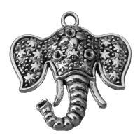 Zinklegierung Tier Anhänger, Elephant, Schwärzen, Silberfarbe, frei von Nickel, Blei & Kadmium, 38x39x6mm, Bohrung:ca. 3.5mm, 50PCs/Menge, verkauft von Menge