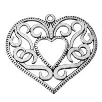 Zinklegierung Herz Anhänger, hohl & Schwärzen, Silberfarbe, frei von Nickel, Blei & Kadmium, 50x45.5x2.5mm, Bohrung:ca. 2.5mm, 50PCs/Menge, verkauft von Menge