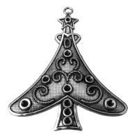 Zinklegierung Weihnachten Anhänger, Schwärzen, Silberfarbe, frei von Nickel, Blei & Kadmium, 67x79x4mm, Bohrung:ca. 3.5mm, 50PCs/Menge, verkauft von Menge