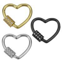 Messing Schraubschließe, Herz, plattiert, Micro pave Zirkonia, keine, 25x22.5x6mm, 5PCs/Menge, verkauft von Menge