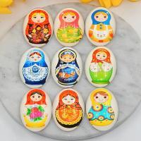 Kühlschrankmagnete, Glas, Ellipse, Kunstdruck, gemischtes Muster & verschiedene Größen vorhanden, gemischte Farben, 100PCs/Tasche, verkauft von Tasche