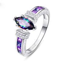 Zinklegierung Fingerring , plattiert, verschiedene Größen vorhanden & Micro pave Zirkonia & für Frau, violett, 10PCs/Menge, verkauft von Menge