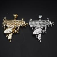 Messing Halskette, plattiert, unisex & mit kubischem Zirkonia, keine, frei von Nickel, Blei & Kadmium, 59x73mm, verkauft von Strang