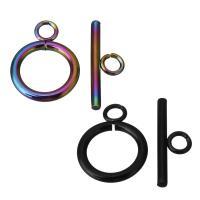 Edelstahl Knebelverschluss, plattiert, DIY, keine, 14x18.5x2mm,7x20x2mm, Bohrung:ca. 3mm, 100SetsSatz/Menge, verkauft von Menge